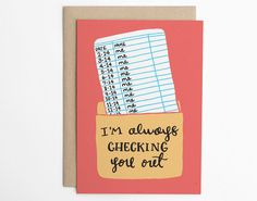 Valentine Card, Valentines Day Card - Im Always Checking You Out - Love Card, Relationship Card, Cute Love Card, Book Nerd Card