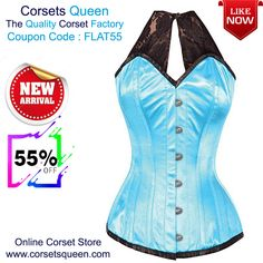 ce0b089f10 Halterneck Corset Sale - Flat OFF Allicce Turquoise Satin Corset with Lace  Halterneck
