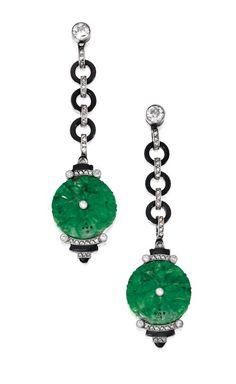 Pair of Platinum, Jade, Diamond and Enamel Pendant-Earrings