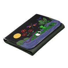 Funny Frog on Gator Snout Folk Art Wallet #frogs #alligators #art #wallet #funny And www.zazzle.com/tickleyourfunnybone*