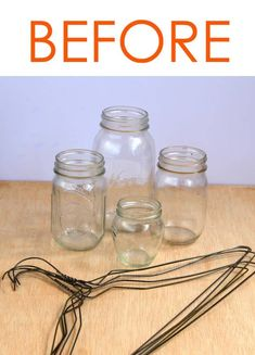 Dry cleaner's hangers + recycled glass jars = beautiful and enchanting ! This is SO pretty! What a gorgeous idea for decor and gifts! Dry cleaner's hangers + recycled glass jars = beautiful and enchanting ! Hanging Mason Jar Lights, Mason Jar Lighting, Diy Hanging, Candle Lighting, Mason Jar Crafts, Pickle Jar Crafts, Pickle Jars, Pot Mason Diy, Craft Ideas