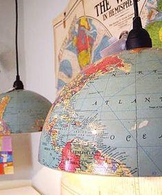 Atlantic ocean globe lamp! 5 Cool Globe Makeovers. #globes