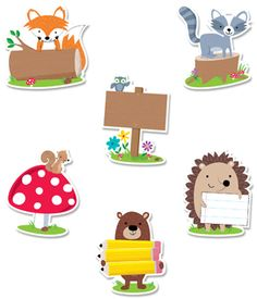 These cute and furry Woodland Friends 6 Cut-Outs will add charm to bulletin boards, doors, and any classroom space. These colorful woodland animals (owl, fox Classroom Birthday, Classroom Themes, Woodland Animals Theme, Forest Animals, Camping Theme, Camping Crafts, Cute Doodles Drawings, Blue Nose Friends, Woodland Party