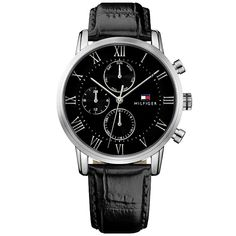 Tommy Hilfiger Men's Kane Multi Function Watch 1791401 - First Class Watches™ Mens Watches Leather, Watches For Men, Tommy Hilfiger Watches, Black Crystals, Stainless Steel Case, Rose Gold Plates, Black Leather, Quartz, Man Shop