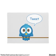 Twitter bird cartoon door mat