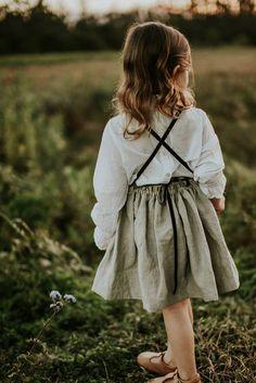 Toddler Girls Dress Overall Skirt Linen Pinafore Made of