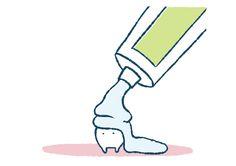 歯のキャラクターにゆるい歯磨き粉がたっぷりかかる