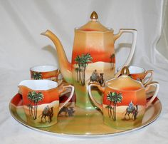 Antique Porcelain Tea Coffee Set Teapot Egypt Circa 1920 | eBay