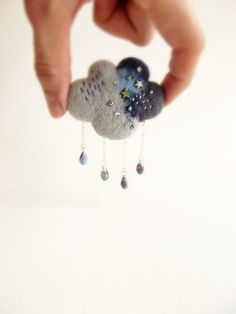 Rain Cloud in Grey and Blue, Hand Felted Brooch, Weather Jewelry, Cloud Pin Textile Jewelry, Fabric Jewelry, Felted Jewelry, Jewellery, Wet Felting, Needle Felting, Felt Brooch, Beaded Brooch, Brooches Handmade