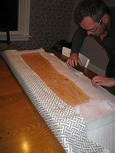 Buy foam attach to plywood wrap with batting then staple batting down. Buy foam attach to plywood wrap with batting then staple batting down. Wrap with fabric then staple down. Window Seat Cushions, Window Benches, Bench Cushions, Outdoor Cushions, Window Seats, Diy Cushion Bench, Diy Outdoor Furniture, Diy Furniture, Furniture Movers