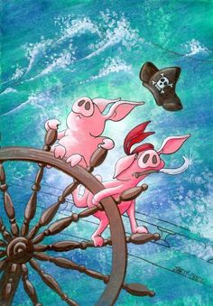 Pigs on the seas by Marty-Crouz Animals Of The World, Animals And Pets, Cute Animals, Stürmische See, Toot & Puddle, Pig Images, Pig Drawing, Pig Illustration, Pig Art