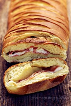 braided bread with mortadella and caciotta {use ricotta, basil and turkey with a w'meal bread}