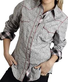 Roper Western Shirt Womens L/S Paisley Snap M Gray 03-050-0064-0355 GY  Price : $44.99 http://www.standupranchers.com/Roper-Western-Paisley-03-050-0064-0355-GY/dp/B00NUNWSX6