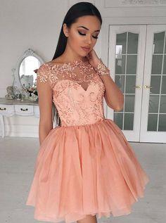2017 homecoming dresses, A-line homecoming dresses, beaded homecoming dresses, salmon pink homecoming dresses, short prom dresses, party dresses, formal dresses, graduation dresses#SIMIBridal #homecomingdresses