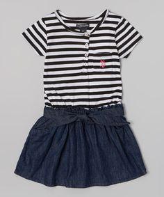 Another great find on #zulily! Black & Denim Stripe Belted Dress - Infant, Toddler & Girls #zulilyfinds