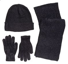 Winter Wear Women's Knit Snowboard Magic Gloves, Beanie, and Scarf Skiing Set Black (One Size). More description on the website.