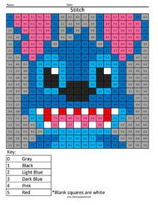 Stitch- Practice Subtraction. They also have multiplication and division sheets, and regular color by number.