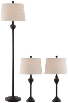 Mason Bronze 3-Piece Floor and Table Lamp Set