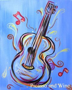 """La Musica""  Let your inner artist shine at Picasso and Wine in Windsor. Sign up with your friends for a fun night, sip on some wine, and leave with a beautiful painting like this one! www.picassoandwine.com. Painting Classes 