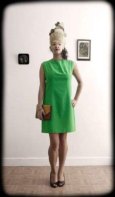 French 1960's 1970's Vintage Retro Lime Dress by ManonLauraVintage, €35.00