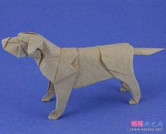 Designed and folded by Quentin Trollip from an uncut square. Paper Animals, Origami Instructions, Backrest Pillow, Flower Pots, Labrador Retriever, Dinosaur Stuffed Animal, Pillows, Illustration, Dogs