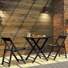 Conjunto Aconchego com Mesa e 2 Cadeiras dobráveis em Madeira Maciça 2 Peças Tabaco - Tramontina