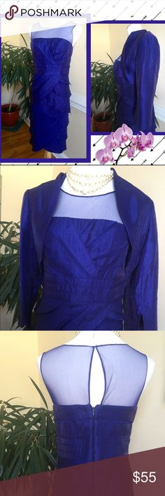 Adrianne Papell formal dinner dress with bolero Stunning blue dress with sheer dress top. A bolero enhances the dress with elegance and comfort. EUC. Used 1 time Adrianne Papell Dresses