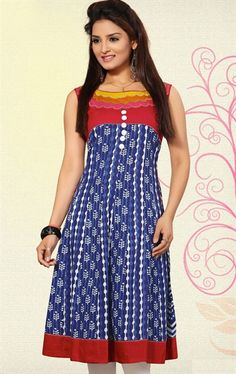 Picture of Fashionable Blue and Red Designer Tunics