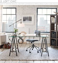 Simple. #home #office #desk #baskets #light #lamp #chair #large #numbers #art #a #sawhorse #rug #industrial
