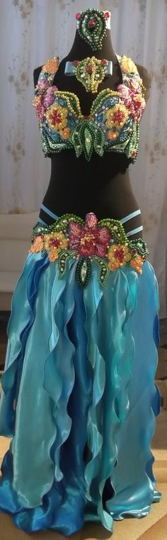 Belly dance costume Waterfall flowers от Raya83 на Etsy, $400.00