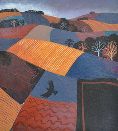 'Violet Field' by Carry Akroyd (acrylic on paper) Landscape Art, Landscape Paintings, Landscapes, Fabric Pictures, Naive Art, Print Artist, Art Images, Home Art, Printmaking