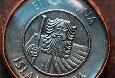 Bearded Man Coin Pendant from Iceland. $19.50, via Etsy.
