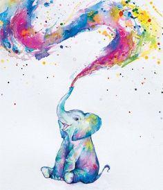 Elephant Poster, Elephant Art, Elephant Paintings, Elephant Drawings, Water Color Elephant, Happy Elephant, Colorful Elephant, Little Elephant Tattoos, Baby Elephant Drawing