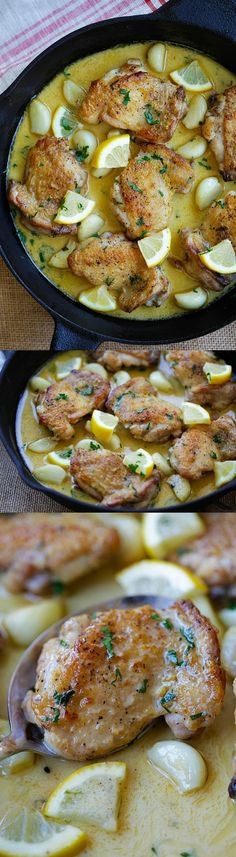 Creamy Lemon Garlic Chicken – crazy delicious skillet chicken with creamy lemon garlic sauce. S0 easy and dinner is ready in 20 mins | rasamalaysia.com