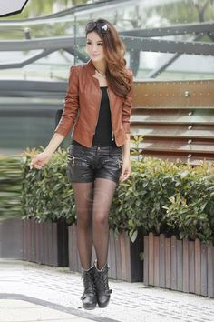 Wholesale Stylish Stand Neck Long Sleeves Special Collar Design Solid Color PU Leather Jacket For Women (CAMEL,M), Jackets & Coats - Rosewholesale.com