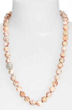 Simon Sebbag stone bead necklace: Silver Prosecco and Pink Jasper