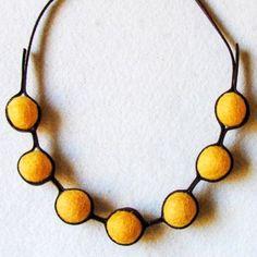 Felt Necklace Orange Yellow Felt Ball Necklace - 2014 Custom Statement Necklaces