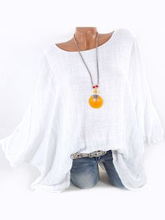 Vintage Batwing Sleeve Simple Shirts for Women can cover your body well, make you more sexy, Newchic offer cheap plus size fashion tops for women Mobile. Grey Fashion, Look Fashion, Fashion Design, Street Fashion, Plus Size T Shirts, Plus Size Blouses, Chic Outfits, Fashion Outfits, Fashion Ideas