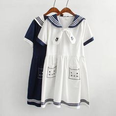 2016 Spring Girl Navy Style Dress Vestido Sailor Collar Cat Embroidery Plus Size Vestidos Mori Girl Lovely Clothing-in Dresses from Women's Clothing & Accessories on Aliexpress.com | Alibaba Group