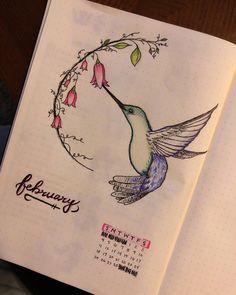 Humming Bird -- use for July, Leigh's birthmonth February Bullet Journal, Bullet Journal Notebook, Bullet Journal Ideas Pages, Bullet Journal Layout, Bullet Journal Inspiration, Journal Pages, Journals, Bellet Journal, Journal Themes