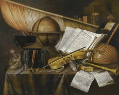 A Vanitas Still Life with Books and Leaflets, a #Globe, a Princely Flag, a Musical Score, Musical Instruments, and an Hourglass on a Draped Table with a Silver Tazza, Coins, a Watch, and a Purse. Edwaert Collier (Dutch, c.1640-c.1707). Oil on panel.