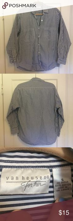 NWOT Van Heusen Oversized Striped Button Down NWOT Van Hussein For Her oversized striped button down shirt. Perfect for that comfy casual look. Never worn. From a pet free smoke free home. Van Heusen Tops Button Down Shirts