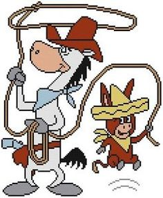 Cross Stitch Knit Crochet Plastic Canvas Waste Canvas Rug Hooking and Bead Work Pattern Quick Draw McGraw the Sheriff Mustang Horse Sheriff and his deputy Baba Looey the Mexican burro from the old cartoons. https://en.wikipedia.org/wiki/Quick_Draw_McGraw https://www.pinterest.com/resparkled/