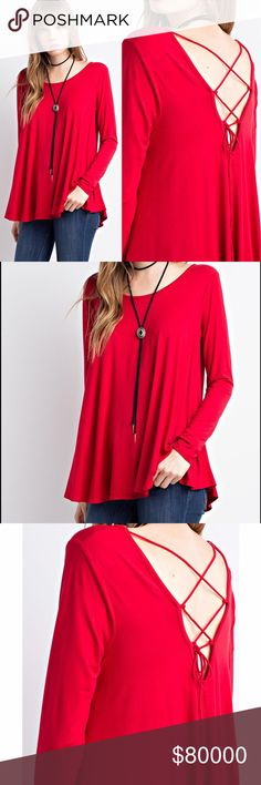 "Arriving TomorrowLace Up Back Top (Red) Arriving Tomorrow! Premium Fabric. * Available in Red & Navy * Material: 96% Bamboo Viscose, 4% Spandex. - Bamboo fabric: incredibly soft, anti-static, antibacterial, keeps you warm yet it's very breathable, UV protection, moisture wicking.  Measurements for Small: Full Length: 27"" Chest: 18"" Wild Dreams Tops"