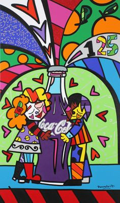 Coca Cola by Romero Britto Coca Cola, Pop Art, Graffiti Painting, Arte Pop, Chalk Art, Pattern Wallpaper, Graphic, Sculpture Art, Art History
