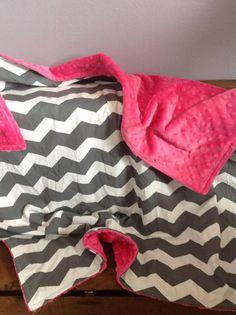 Chevron and Hot Pink Minky Baby Blanket by PurplePolkaDotKids, $35.00