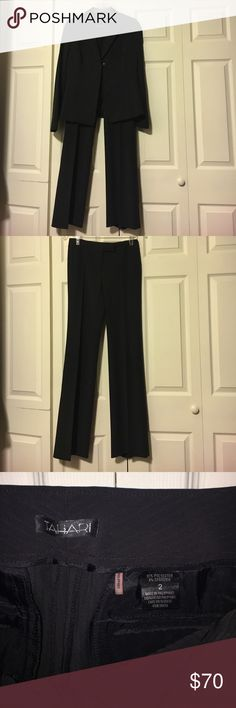 Gorgeous Tahari Pantsuit Jacket is a size 8, pants are a size 2. Willing to sell separately, make me an offer! Gorgeous silky black fabric with a slight stripe pattern. Elegant and classic pantsuit, it just doesn't fit me! Tahari Pants Wide Leg