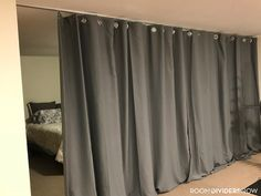 RoomDividersNow Ceiling Track Room Divider Kits provide floor to ceiling privacy in minutes! Our dividers slide with ease on the sleek & easy to install track. Living Room Windows, New Living Room, Ideas Armario, Cheap Cottages, Add A Room, Room Divider Curtain, Room Dividers, Happy Lady, Glass House