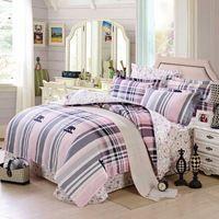 Rosa gris a cuadros con impresa flor más barato bedlinens sábanas de algodón de la muchacha de juegos de cama de casa 4 - 5 unid edredón del duvet cubre full / queen
