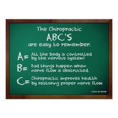 , ABC's of Chiropractic. Do you know the Chiropractic ABC's ?, Avon, IN www. Chiropractic Assistant, Chiropractic Humor, Doctor Of Chiropractic, Chiropractic Office, Family Chiropractic, Acupressure, Acupuncture, Craniosacral Therapy, Just Dream